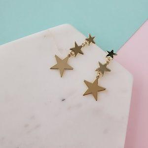 5 for $25 Gold Color Triple Star Earrings